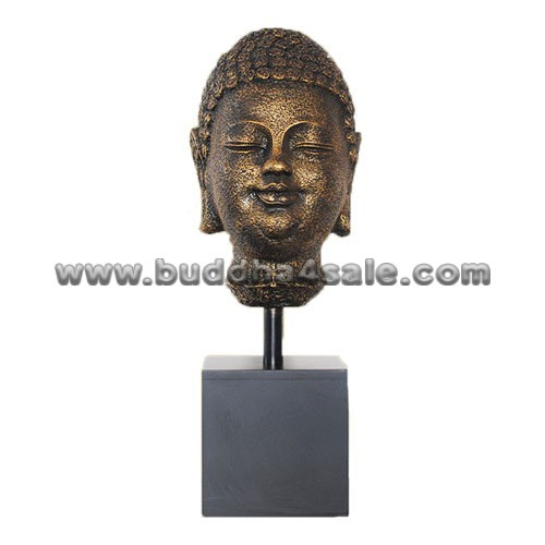 Antique-Gold-Resin-Buddha-Head-with-A-Base-Front