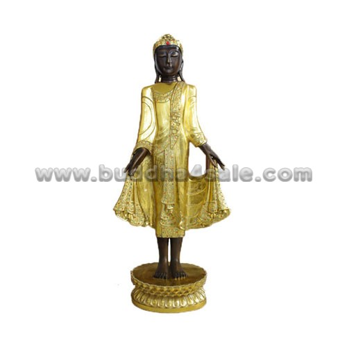 Antique-Gold-Thai-Stand-Buddha-Front-with-Base