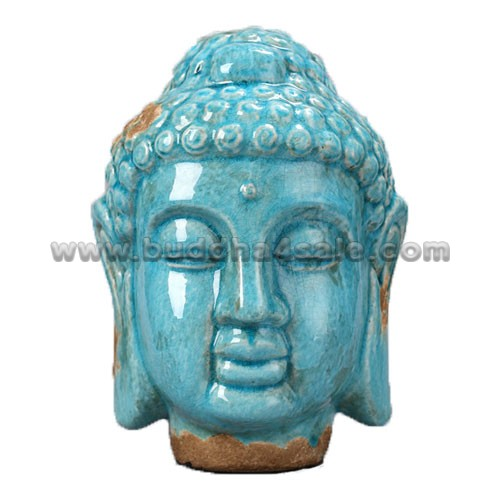 Antique-Porcelain-Bule-Buddha-Head-Front-Table-Decor