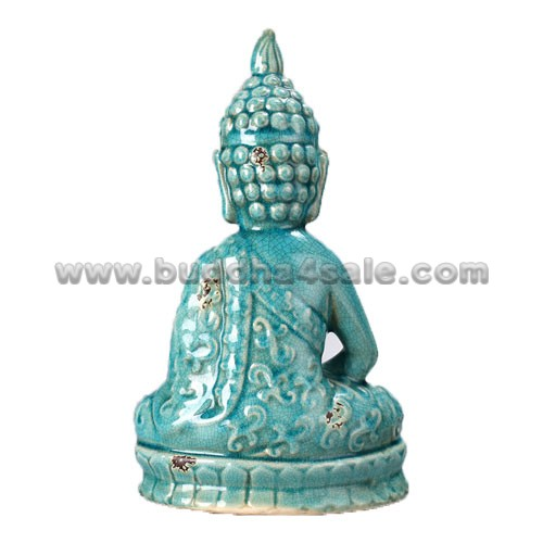 Antique Table Decor Buddha Statue Collectable Religious: Meditation Dhyana Mudra Antique Glossy Cyan Ceramic