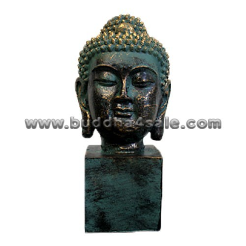 Antique Resin Patino Buddha Head with Peaceful Expression