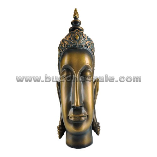 East Asia Resin Bronzy Buddha Head Front
