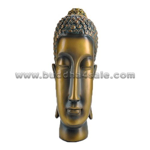 East Asia Thai Bronzy Resin Buddha Head Front