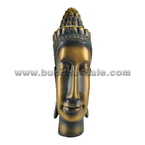 East Asia Thai Bronzy Resin Smile Buddha Head Front