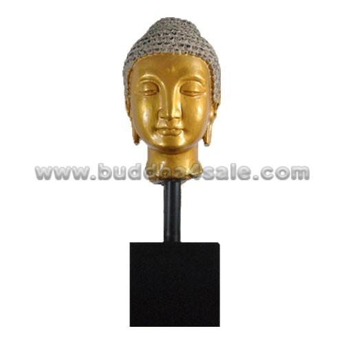Grey-Gold-Antique-Resin-Buddha-Head-with-A-Base-Front