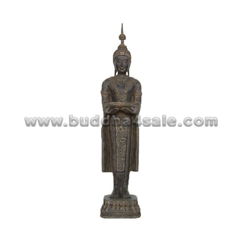 Resin-Antique-Mud-Colored-Stand-Medicine-Buddha-Decor-Front-