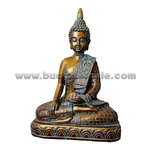 Resin-Thai-Bronze-like-Meditation-Sitting-Buddha-Front