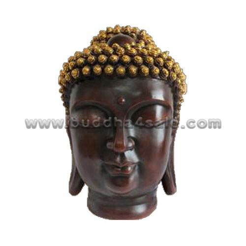 Resin-Wood-Like-Japanese-Buddha-Head-Front-Table-Decor-