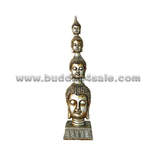 Silver-Resin-Gold-Buddha-Head-Front-Table-Head