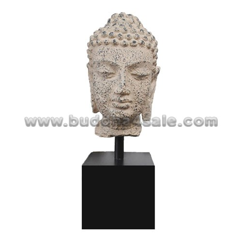 White-Antique-Resin-Buddha-Head-with-A-Base-Front