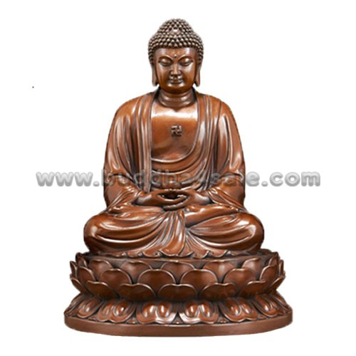 1Copper Sitting Meditation Shakyamuni Holding a Bowl Front