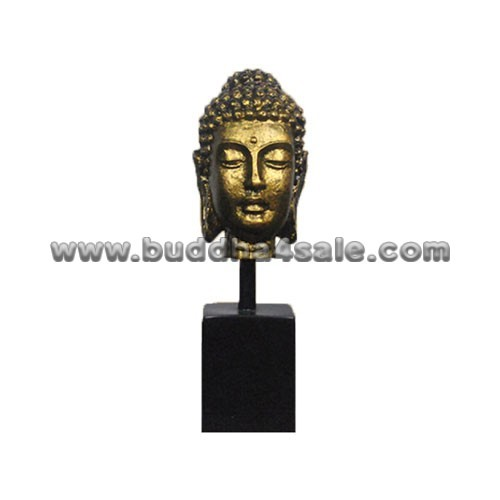 Bronze-Gold-Antique-Resin-Buddha-Head-with-A-Base-Front
