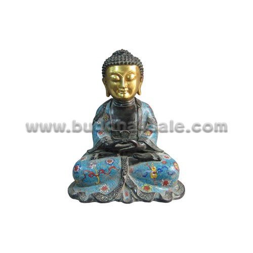 antique cloisonne shakyamuni buddha meditating
