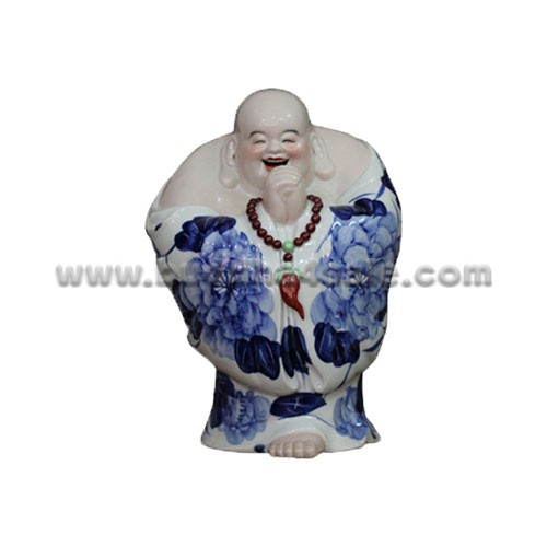 antique jingdezhen ceremic pottery china standing fat buddha bule and white ceramic jingdezhen